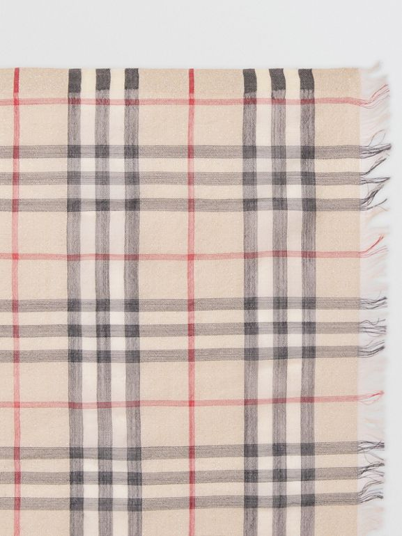 Metallic Vintage Check Wool Silk Blend Scarf in Stone | Burberry - cell image 1