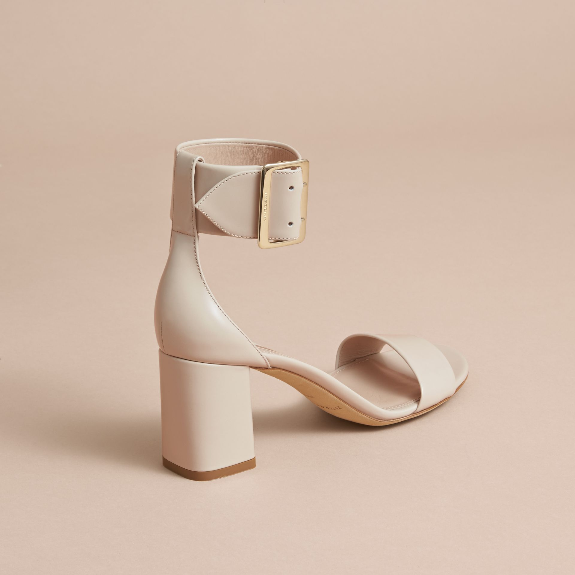 Buckle Detail Patent Leather Sandals in Pale Taupe - Women | Burberry - gallery image 4