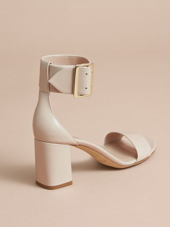 Buckle Detail Patent Leather Sandals in Pale Taupe - Women | Burberry - cell image 3