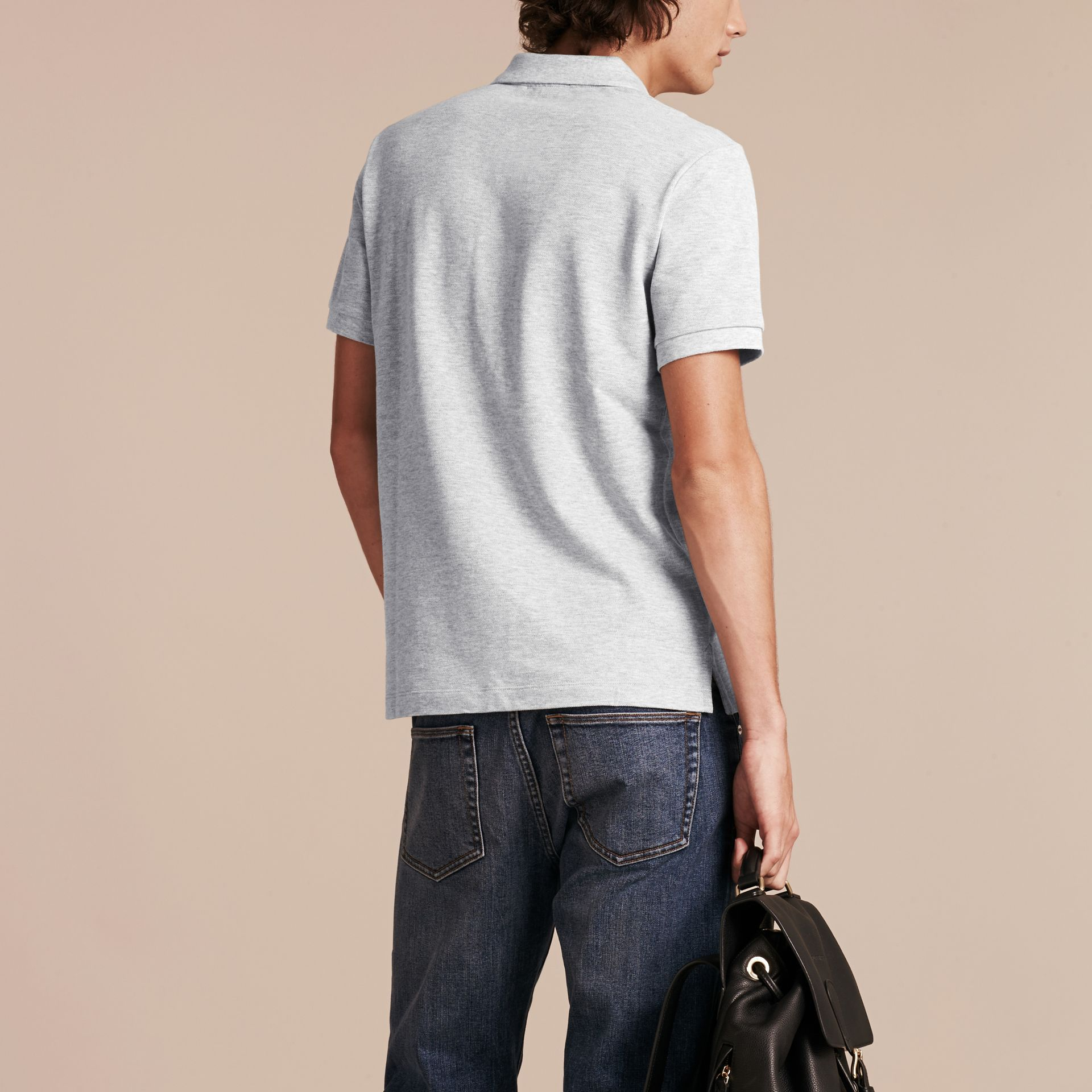 Check Placket Cotton Piqué Polo Shirt in Pale Grey Melange - Men | Burberry Canada - gallery image 3