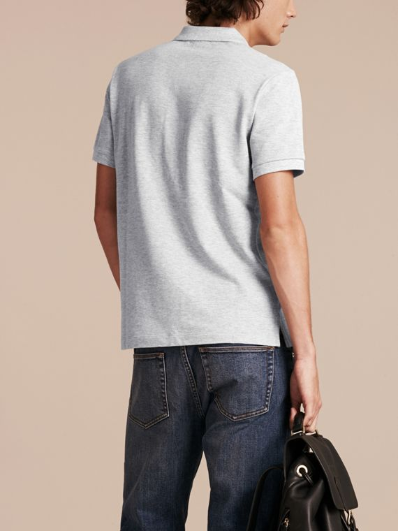 Check Placket Cotton Piqué Polo Shirt in Pale Grey Melange - Men | Burberry - cell image 2