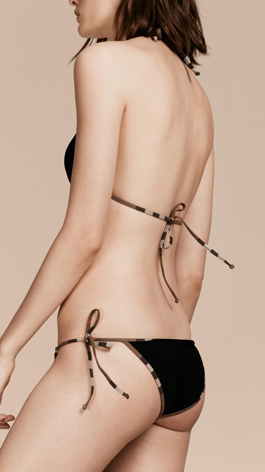 Black Check Trim Triangle Bikini Black - Image 3