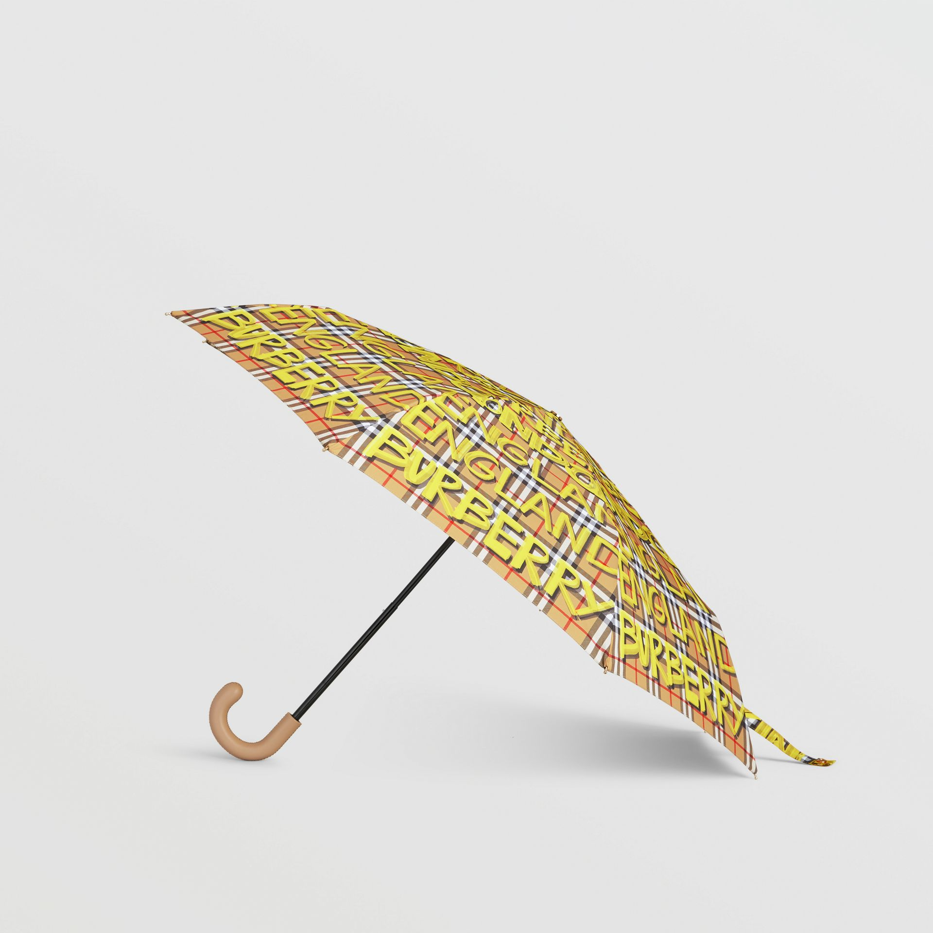 Graffiti Vintage Check Print Folding Umbrella in Yellow | Burberry - gallery image 4
