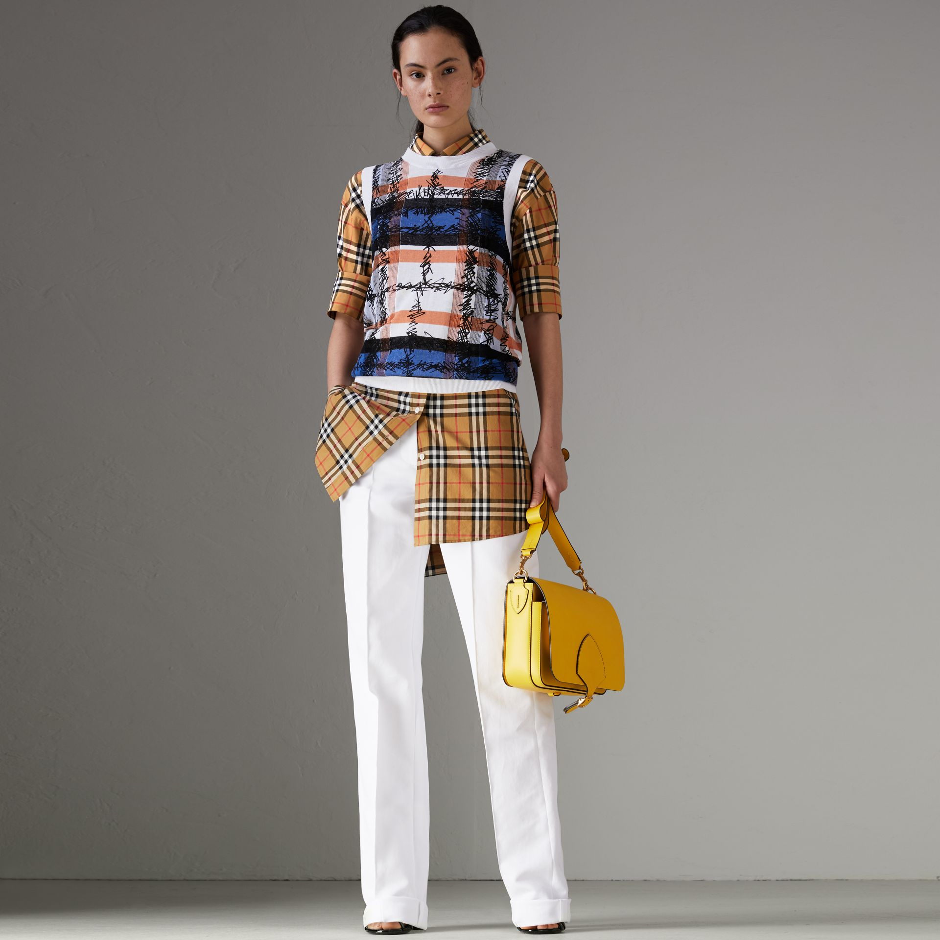 Vintage Check Cotton Shirt in Antique Yellow - Women | Burberry Australia - gallery image 0