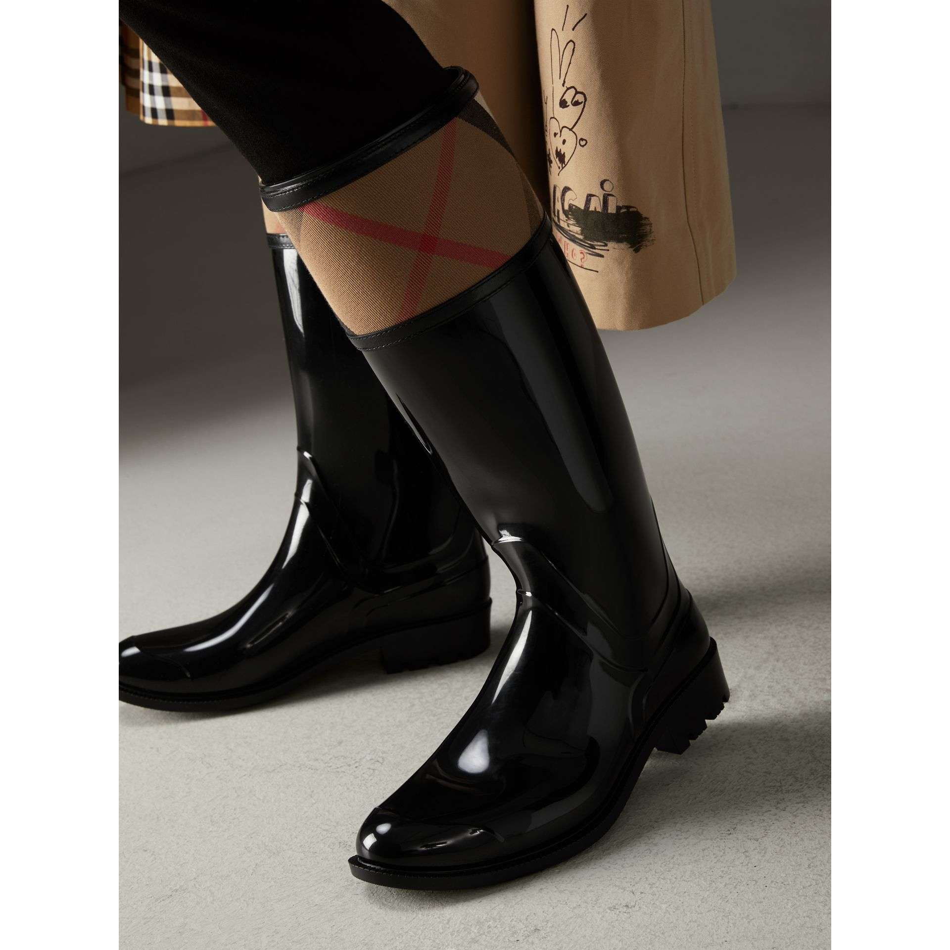 House Check Rain Boots in Black - Women | Burberry - gallery image 2