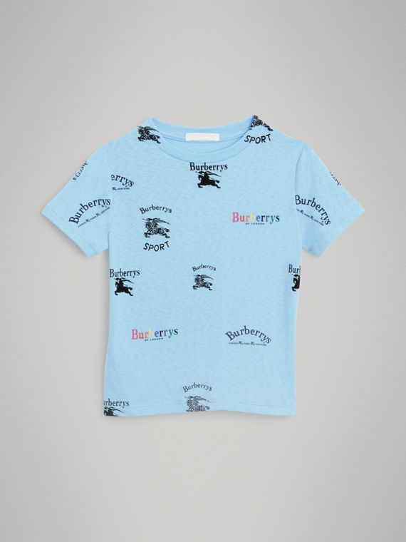 Archive Logo Print Jersey T-shirt in Sky Blue