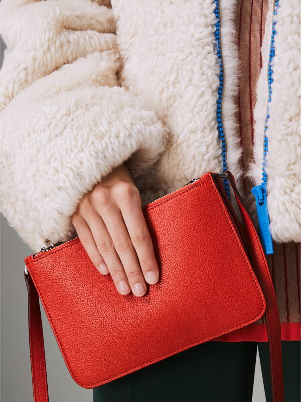 Triple Zip Grainy Leather Crossbody Bag in Bright Red - Women | Burberry United Kingdom - cell image 3