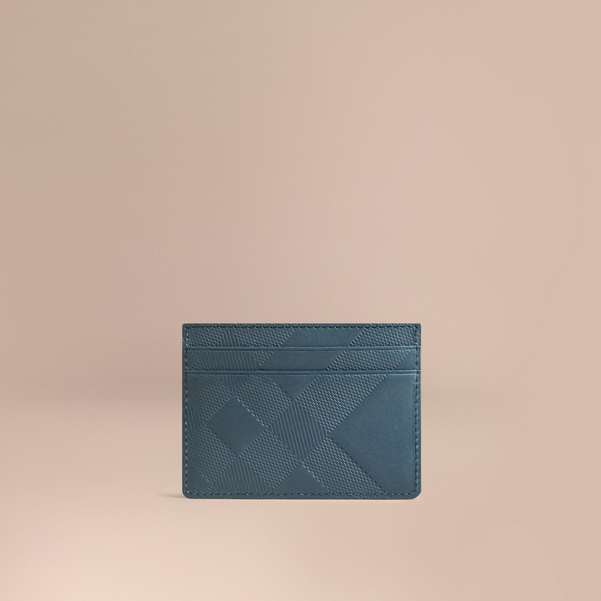 Azul acero Tarjetero en piel con checks grabados Azul Acero - imagen de la galería 1