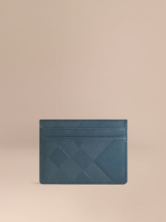 Check Embossed Leather Card Case Steel Blue