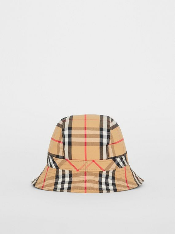 Vintage Check Cotton Bucket Hat in Antique Yellow