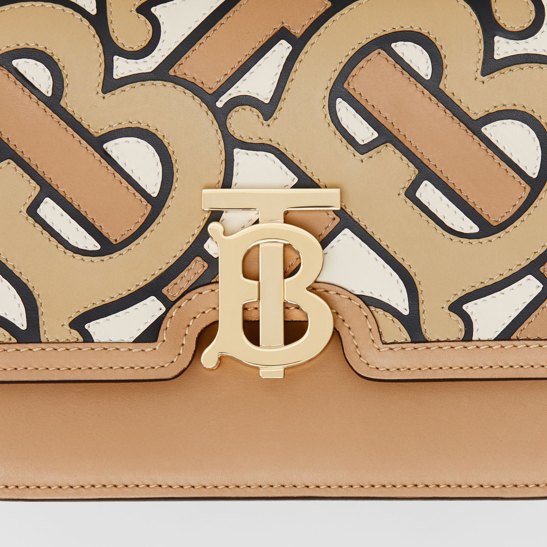 Small Monogram Intarsia Leather TB Bag in Beige - Women | Burberry United Kingdom - gallery image 1