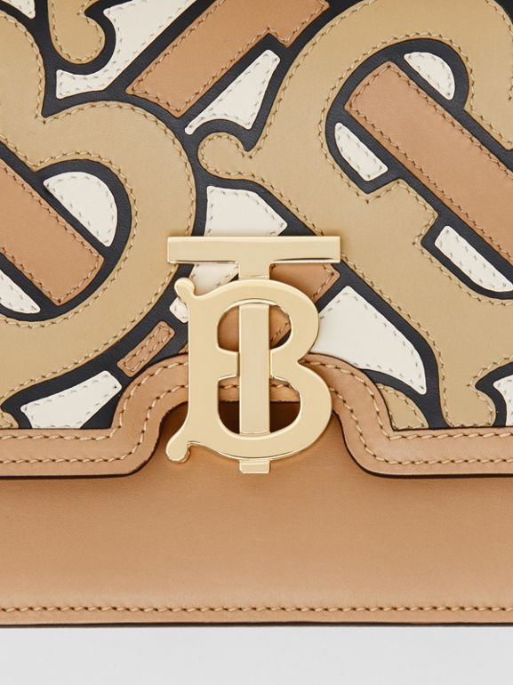 Small Monogram Intarsia Leather TB Bag in Beige - Women | Burberry - cell image 1