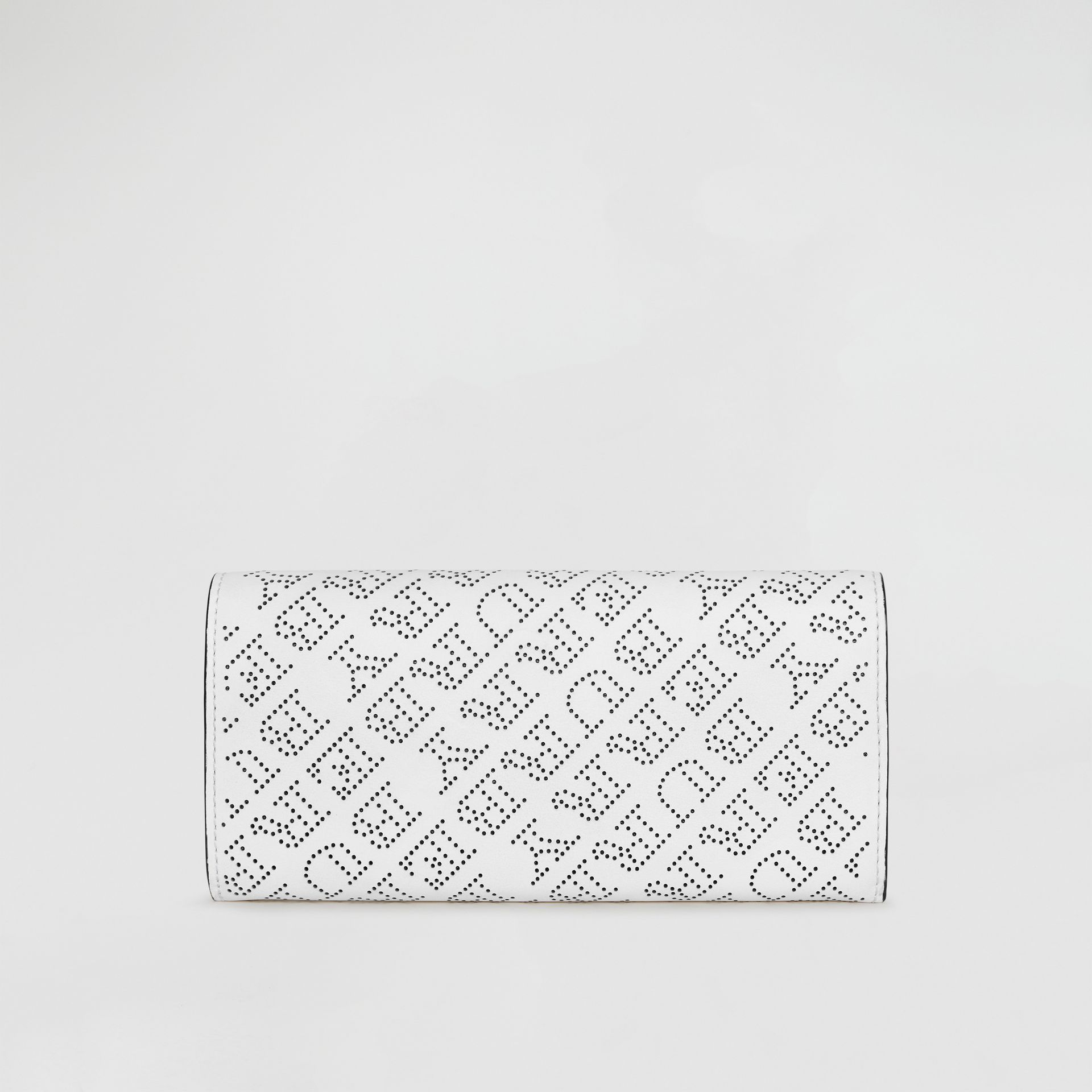 Perforated Logo Leather Continental Wallet in White - Women | Burberry - gallery image 5