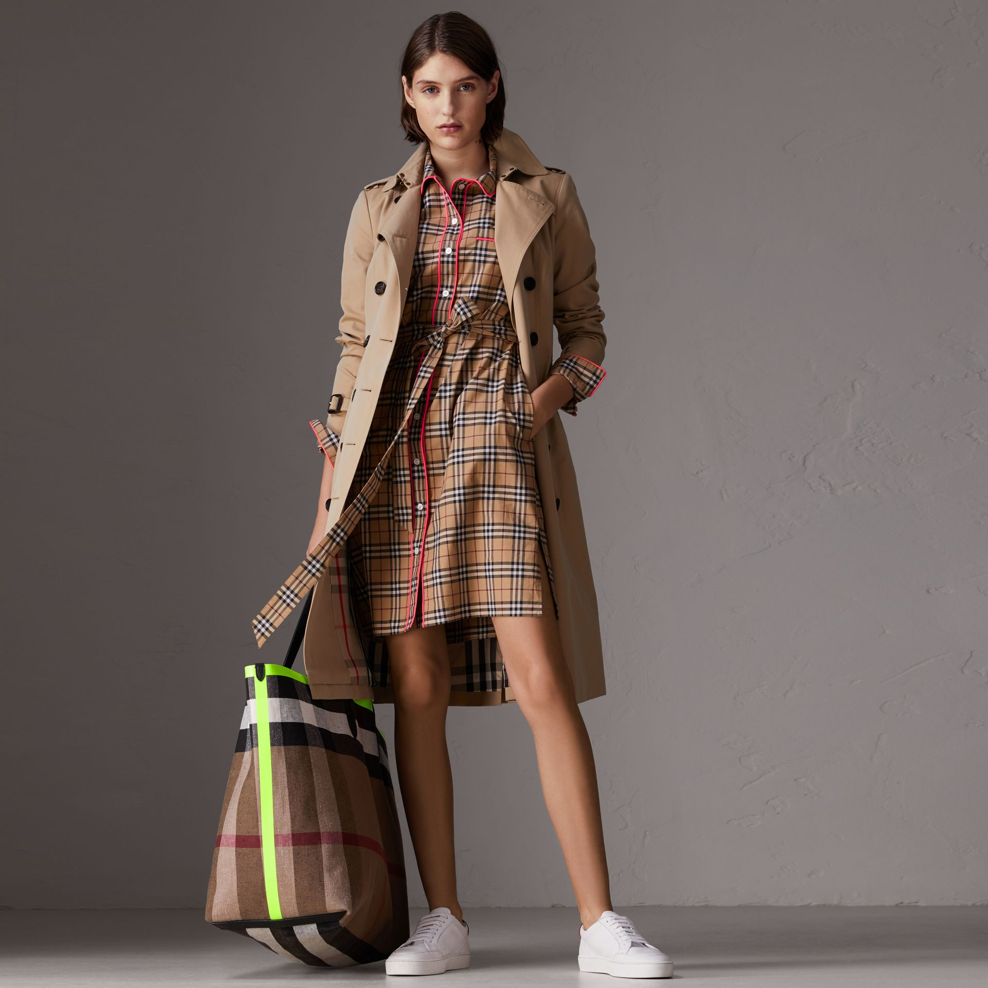 Contrast Piping Check Cotton Shirt Dress in Camel - Women | Burberry - gallery image 0
