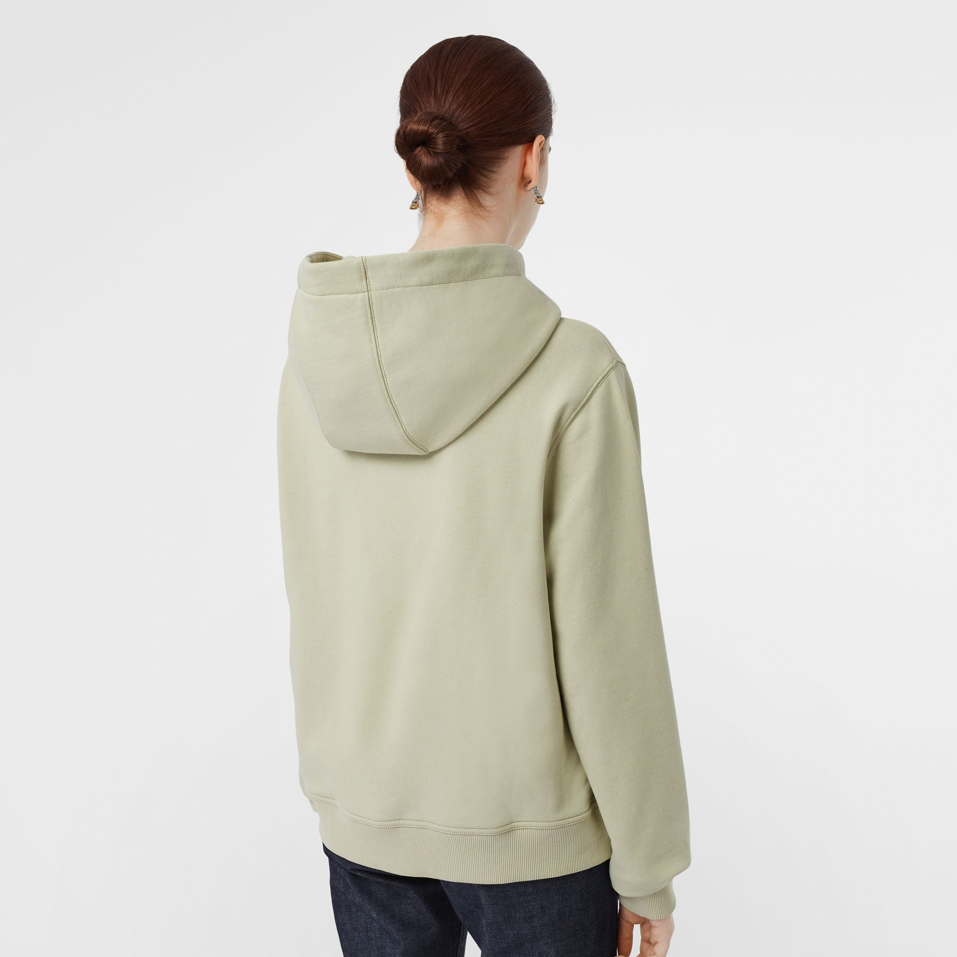 Logo Print Cotton Oversized Hoodie in Pale Apple Green - Women | Burberry - gallery image 2