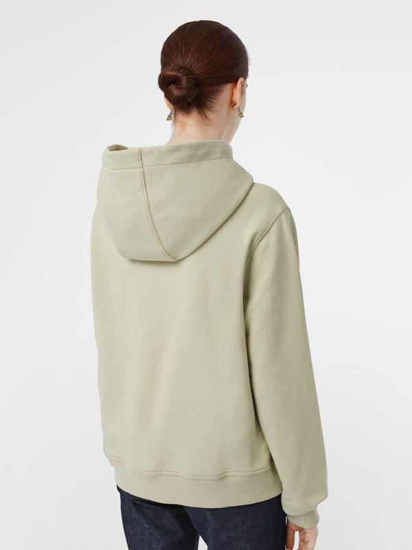 Logo Print Cotton Oversized Hoodie in Pale Apple Green - Women | Burberry Singapore - cell image 2