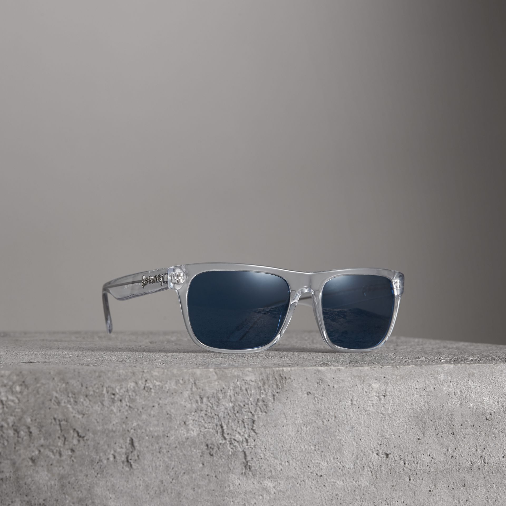Doodle Square Frame Sunglasses in Crystal - Men | Burberry Australia - gallery image 0