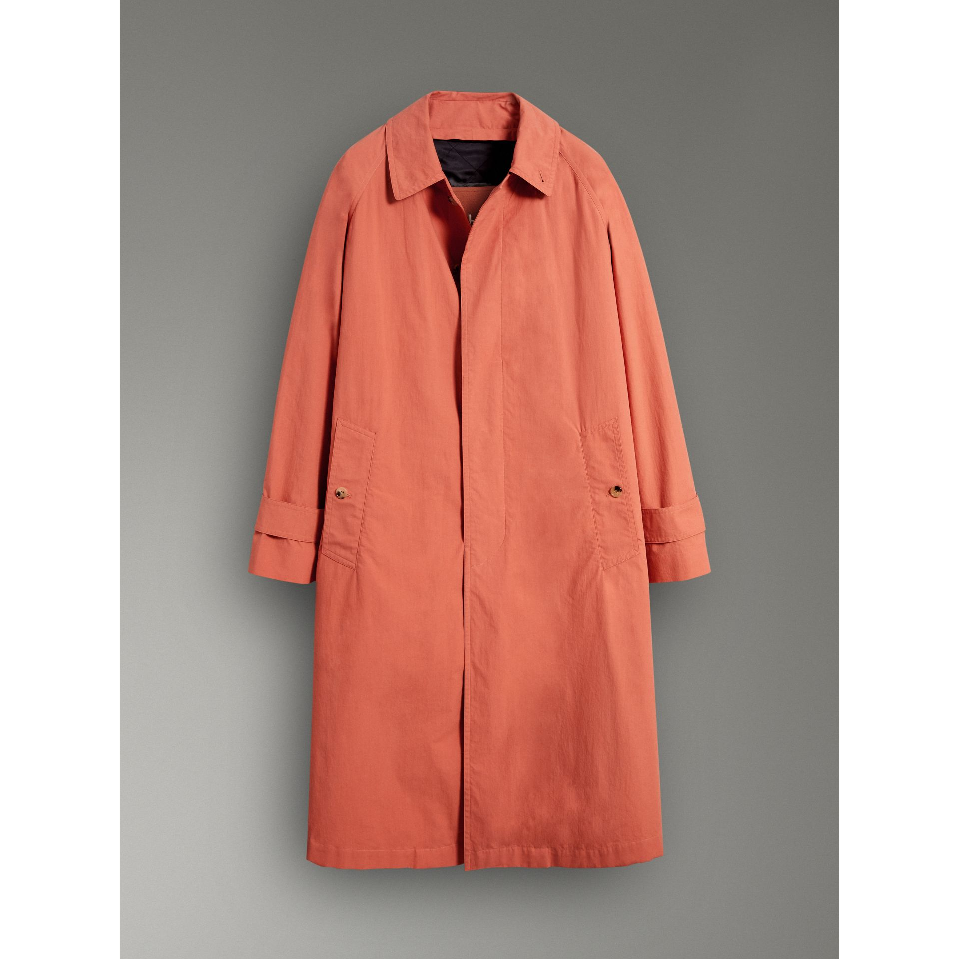 Reissued Cotton Car Coat with Detachable Warmer in Coral - Men | Burberry Australia - gallery image 3