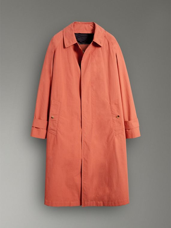 Reissued Cotton Car Coat with Detachable Warmer in Coral - Men | Burberry - cell image 3