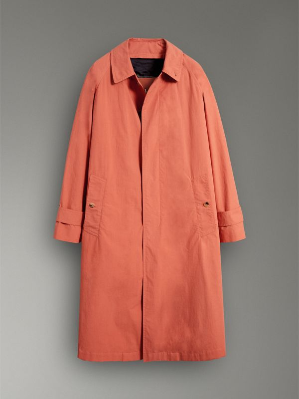 Reissued Cotton Car Coat with Detachable Warmer in Coral - Men | Burberry Australia - cell image 3