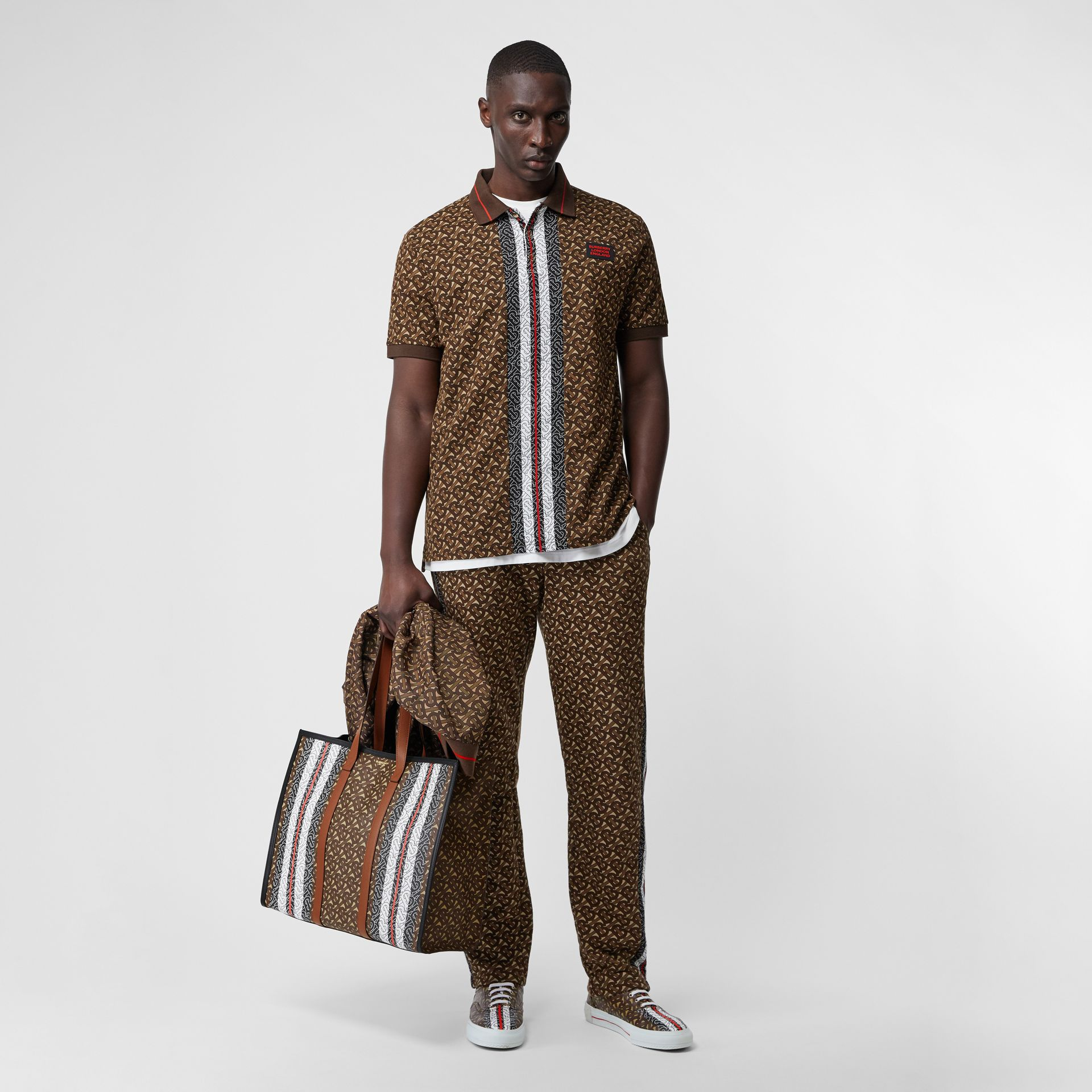 Monogram Stripe E-canvas Tote Bag in Bridle Brown | Burberry - gallery image 7