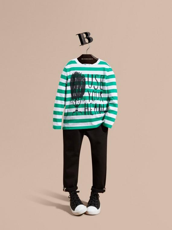 """Langärmeliges Shirt aus Baumwolle mit """"Use Your Head""""-Motiv Aquamaringrün"""