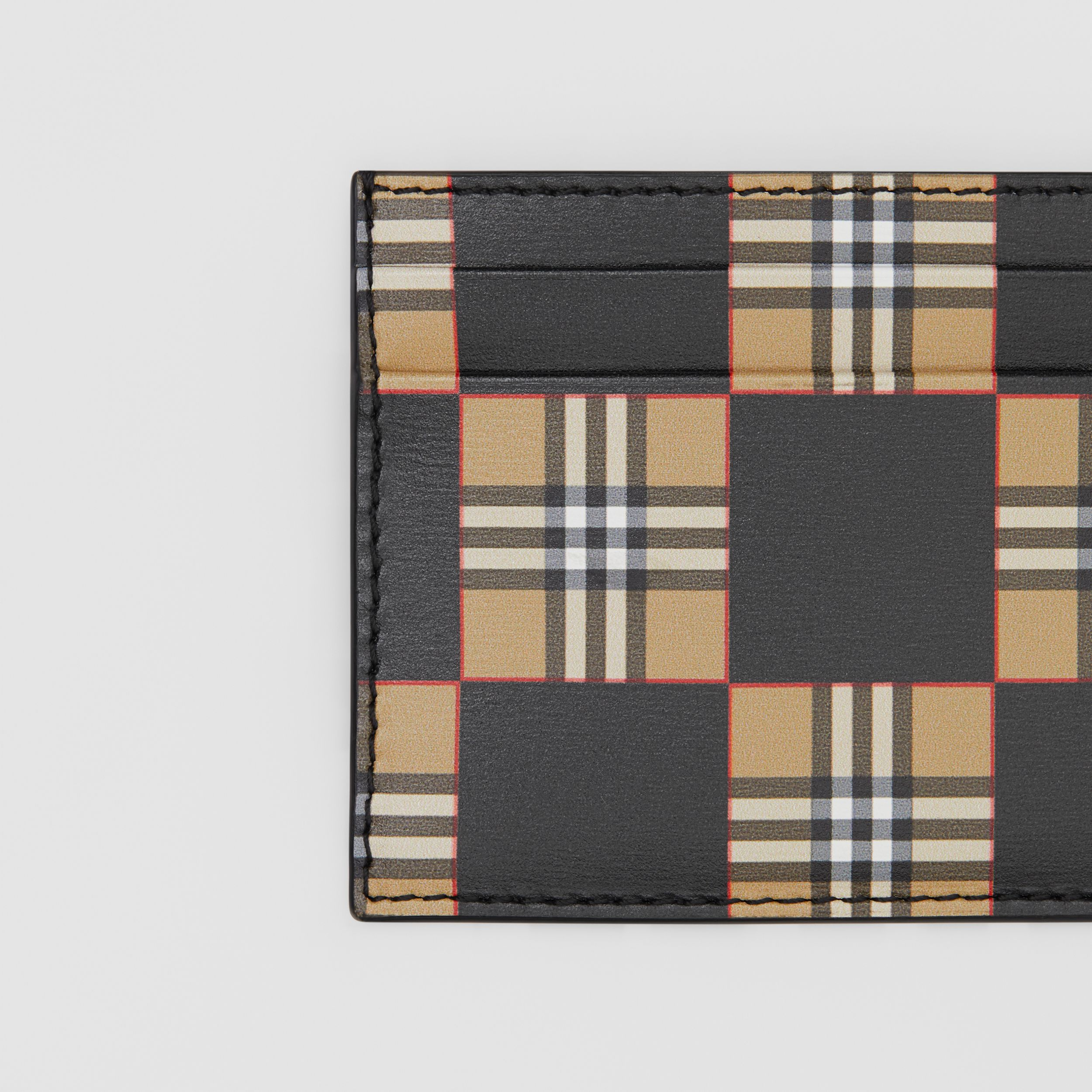 Chequer Print Leather Card Case in Archive Beige/black - Men | Burberry - 2