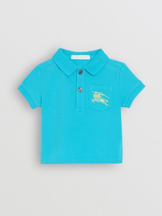Poloshirt aus Baumwollpiqué mit Ritteremblem (Leuchtendes Cyanblau)