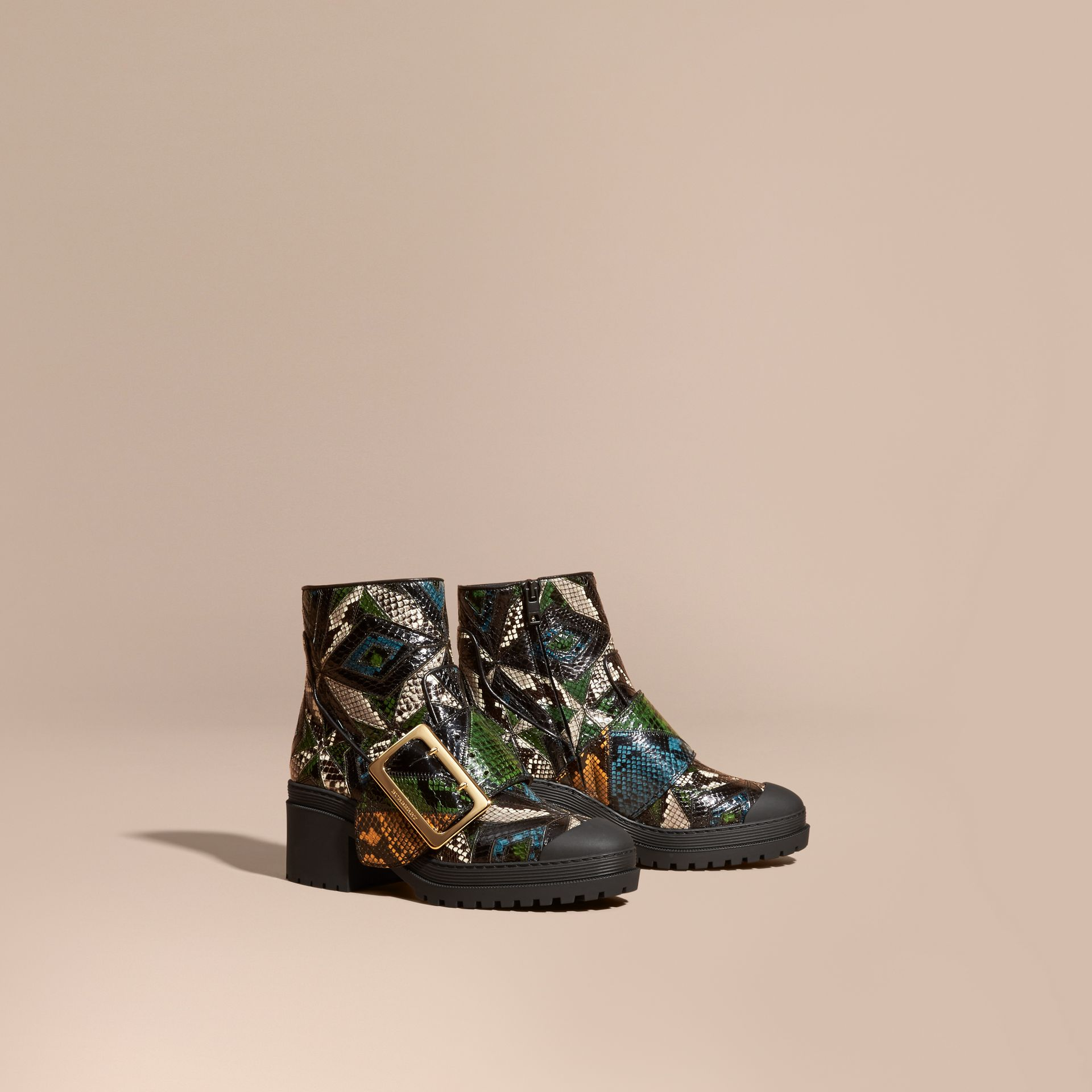 Black/mineral blue The Buckle Boot in Snakeskin - gallery image 1