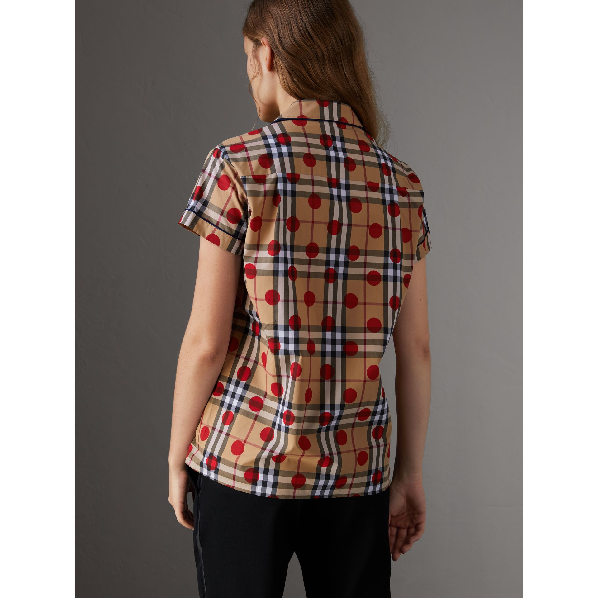 Short-sleeve Spot Print Check Cotton Shirt in Parade Red - Women | Burberry - gallery image 3