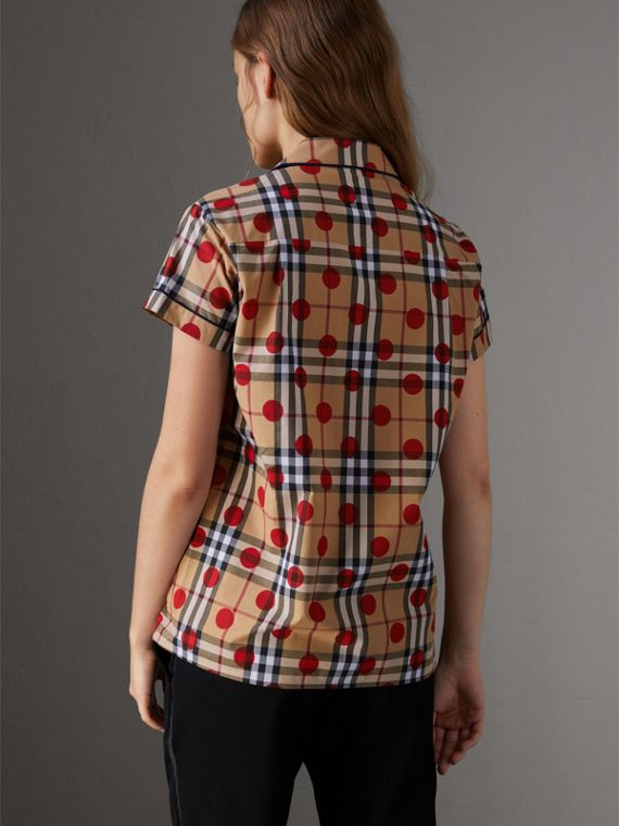 Short-sleeve Spot Print Check Cotton Shirt in Parade Red - Women | Burberry United Kingdom - cell image 2