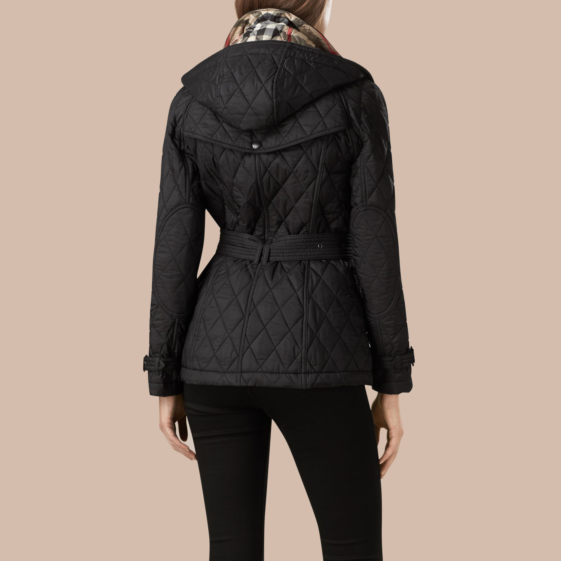 Quilted Trench Jacket with Detachable Hood in Black - gallery image 3