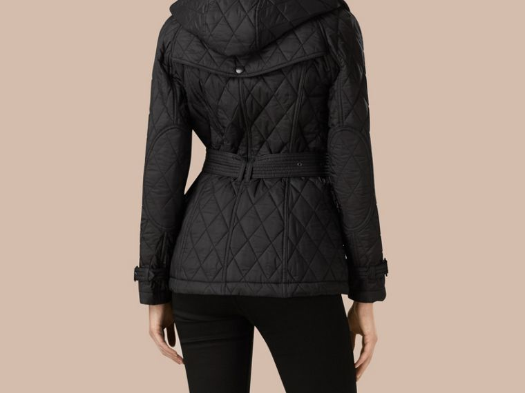 Black Quilted Trench Jacket with Detachable Hood Black - cell image 2
