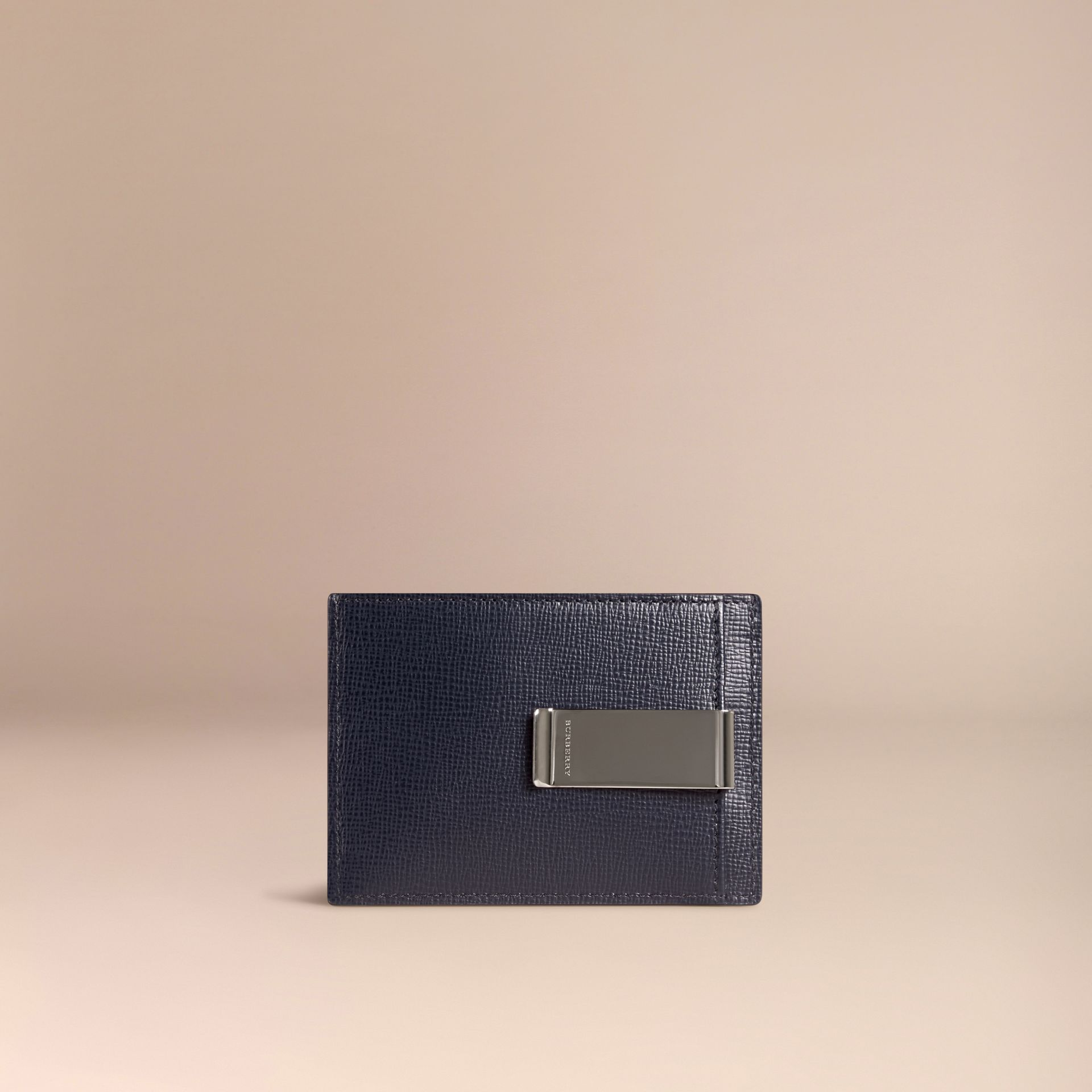 Dark navy London Leather Money Clip Card Case Dark Navy - gallery image 2