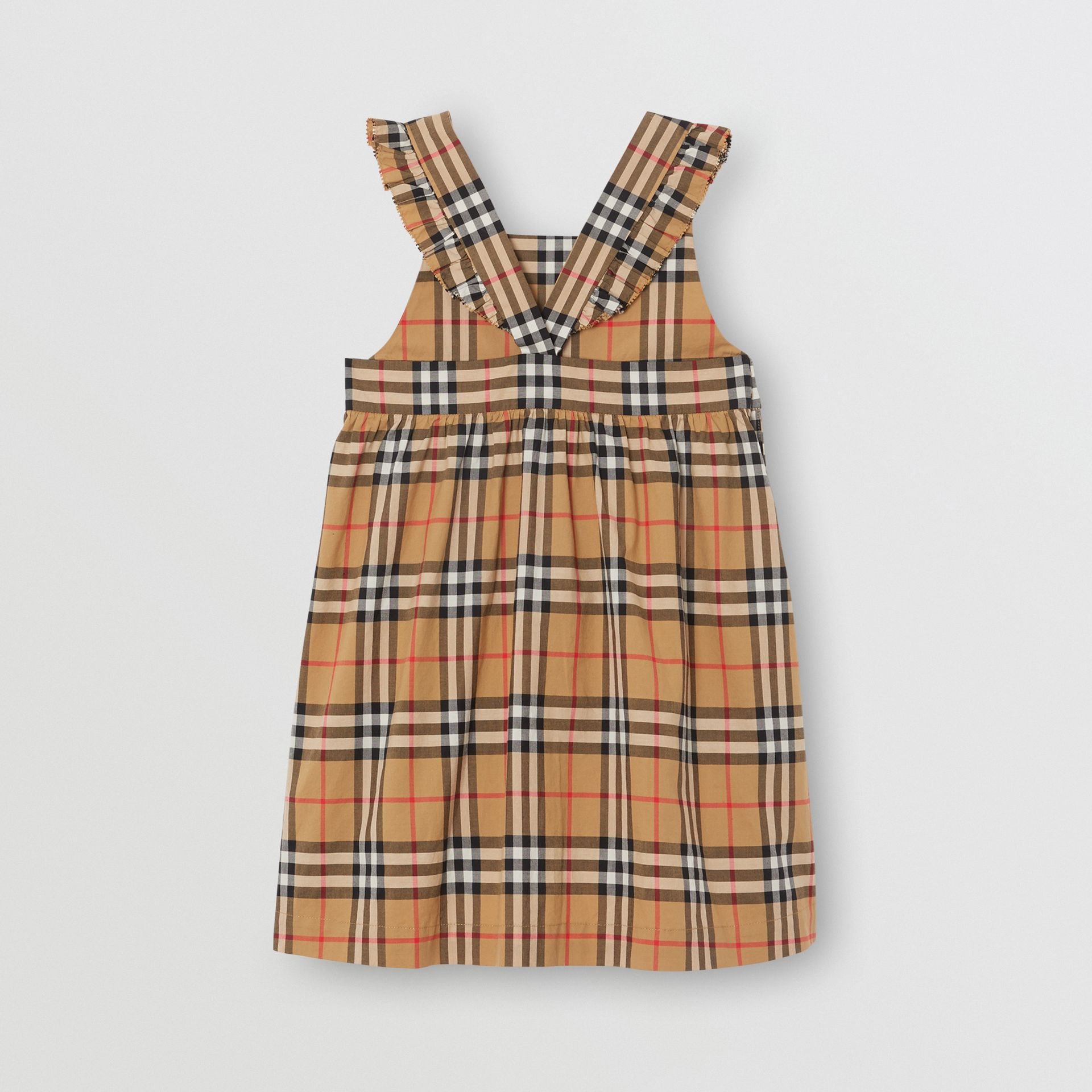 Ruffle Detail Vintage Check Cotton Dress in Antique Yellow | Burberry Canada - gallery image 3
