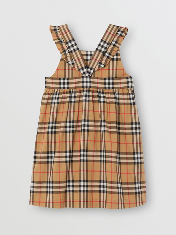 Ruffle Detail Vintage Check Cotton Dress in Antique Yellow | Burberry - cell image 3
