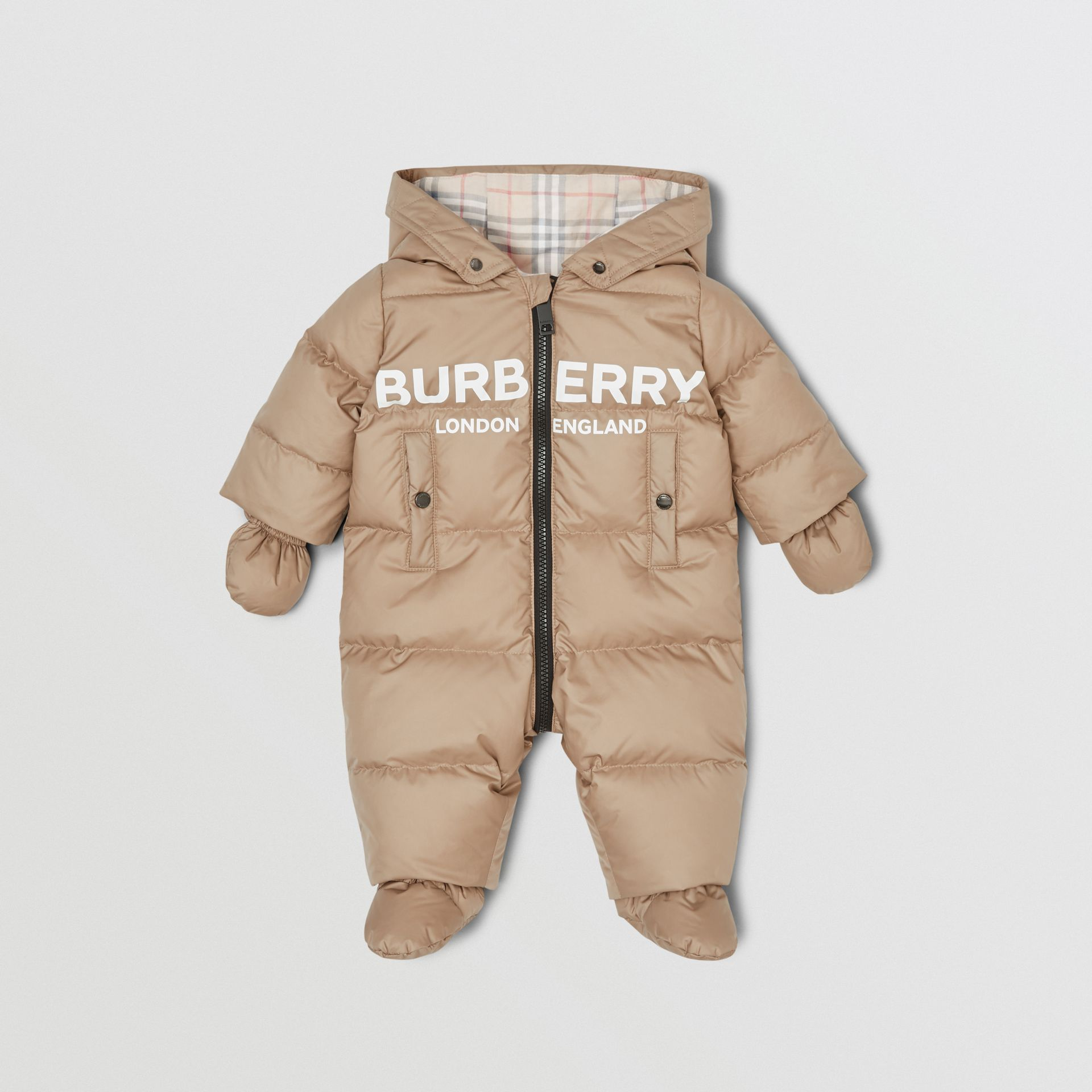 Logo Print Down-filled Puffer Suit in Walnut - Children | Burberry - gallery image 2