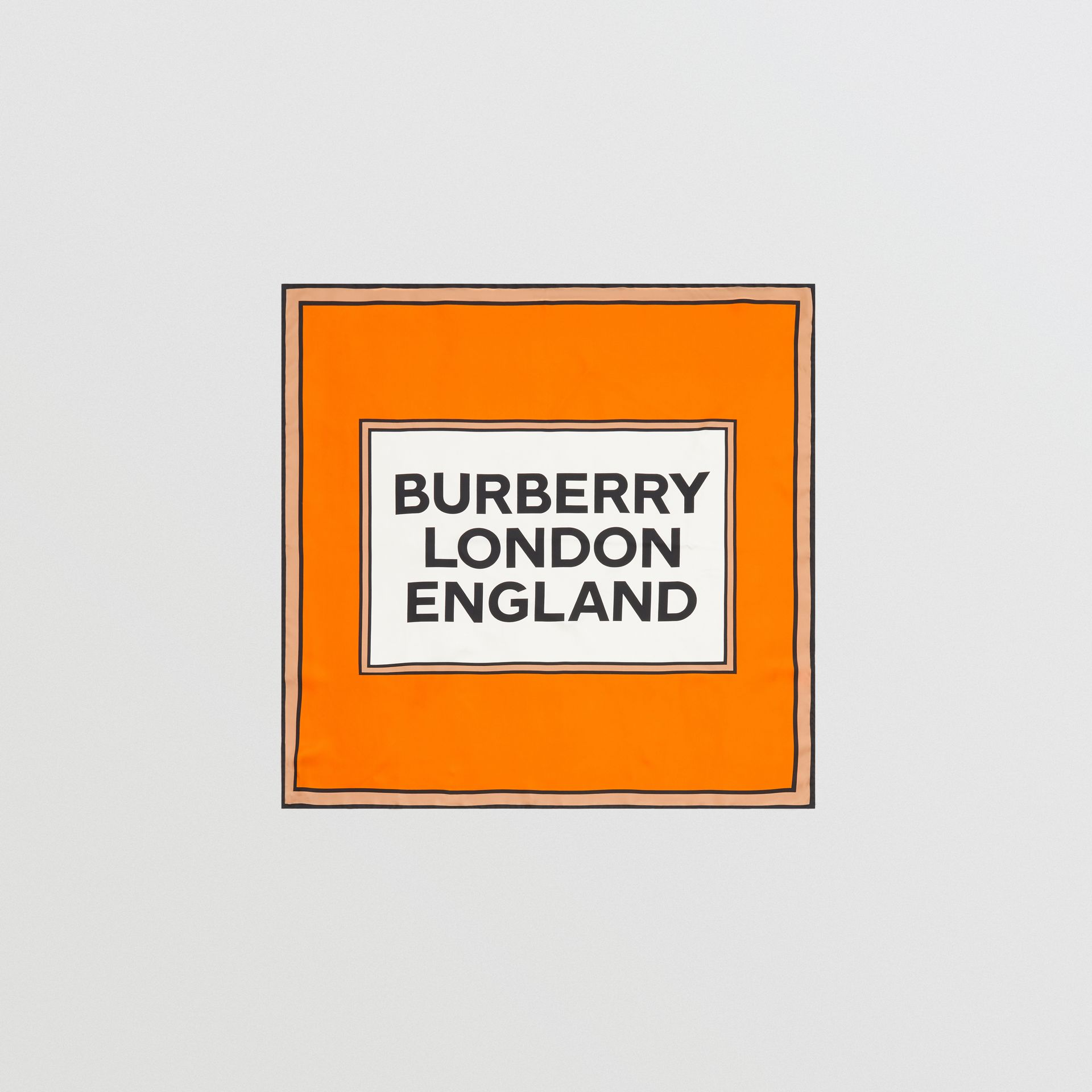 Logo Print Silk Square Scarf in Orange | Burberry - gallery image 0