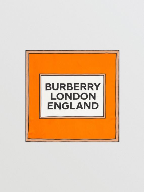 Seidenkarreeschal mit Burberry-Logo (Orange)