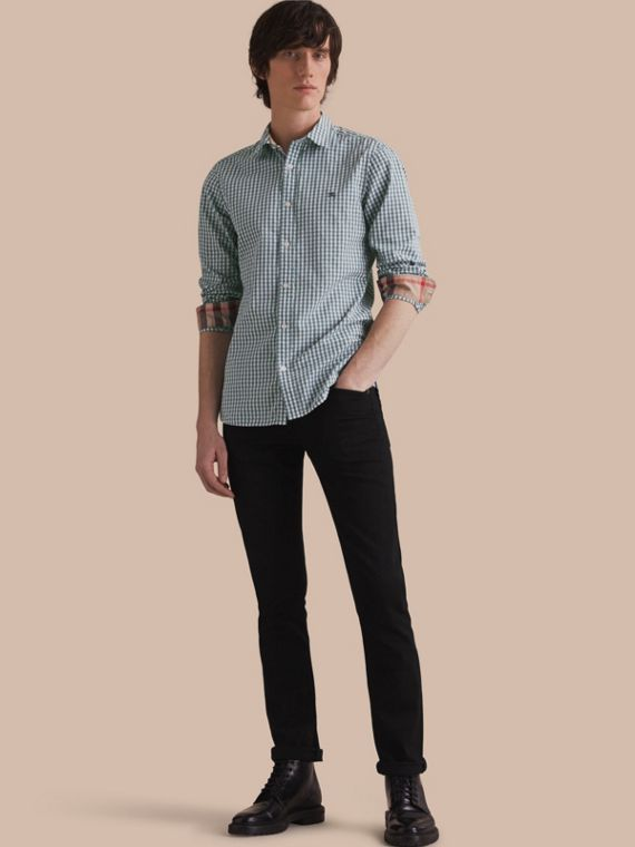 Gingham Cotton Poplin Shirt with Check Detail in Dusty Teal Blue - Men | Burberry