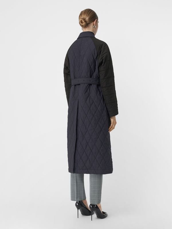 Reversible Contrast Sleeve Quilted Cotton Car Coat in Navy - Women | Burberry - cell image 2