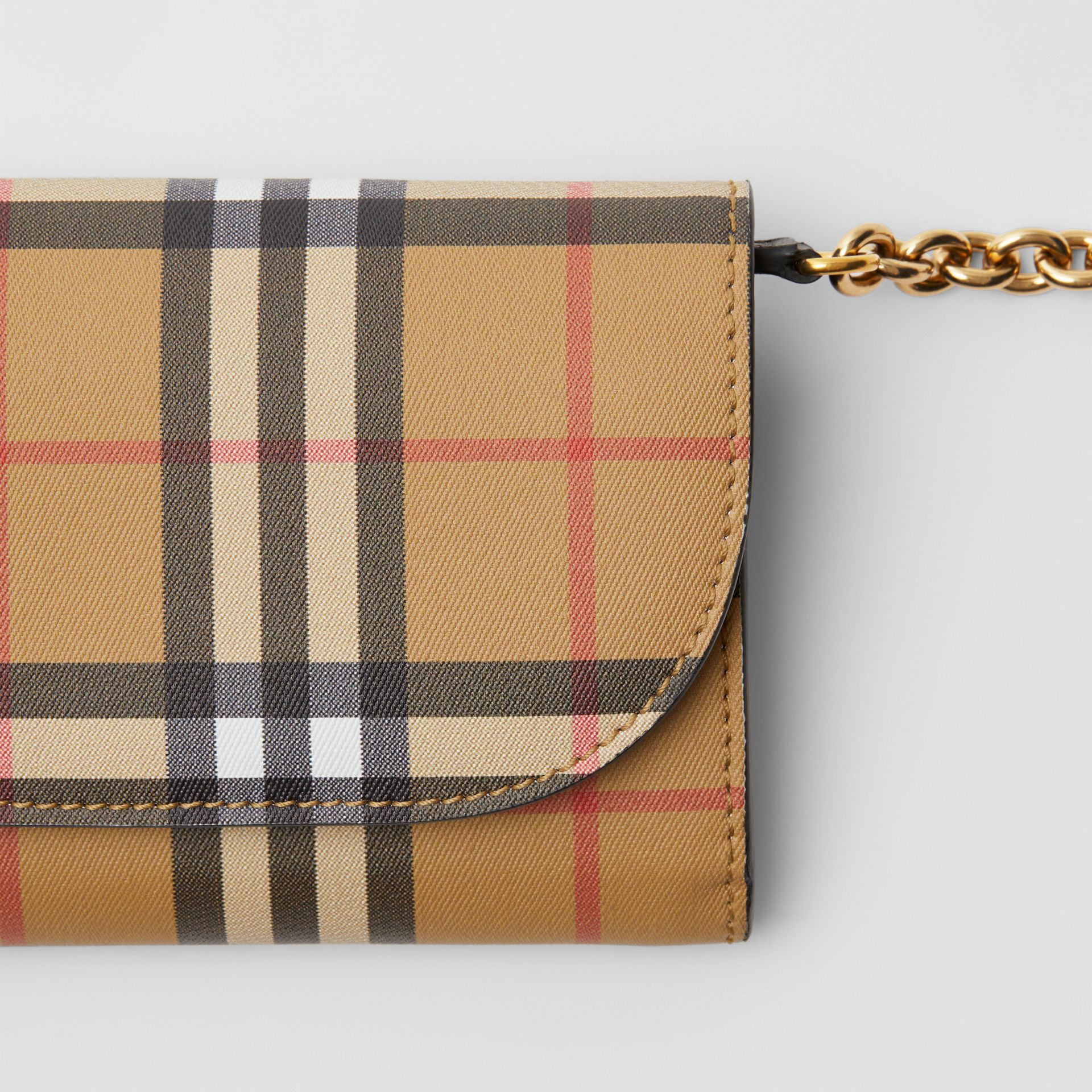 Vintage Check and Leather Wallet with Chain in Black - Women | Burberry Australia - gallery image 1