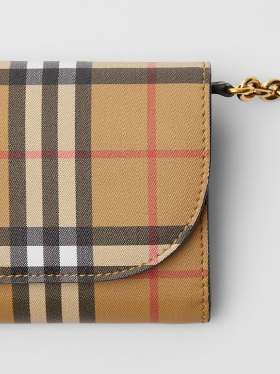 Vintage Check and Leather Wallet with Chain in Black - Women | Burberry Canada - cell image 1