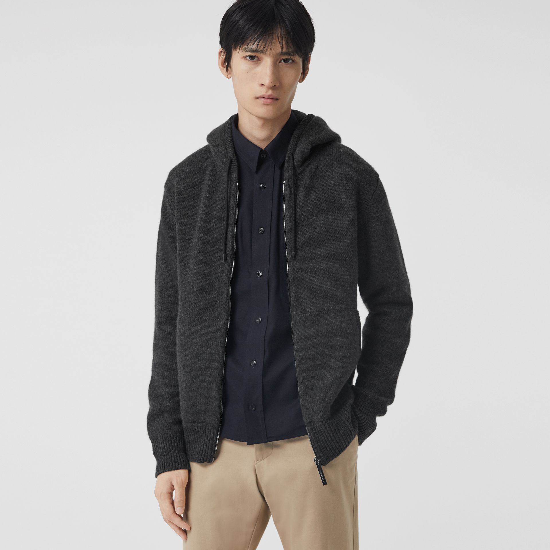Cashmere Hooded Top in Charcoal Melange - Men | Burberry - gallery image 0