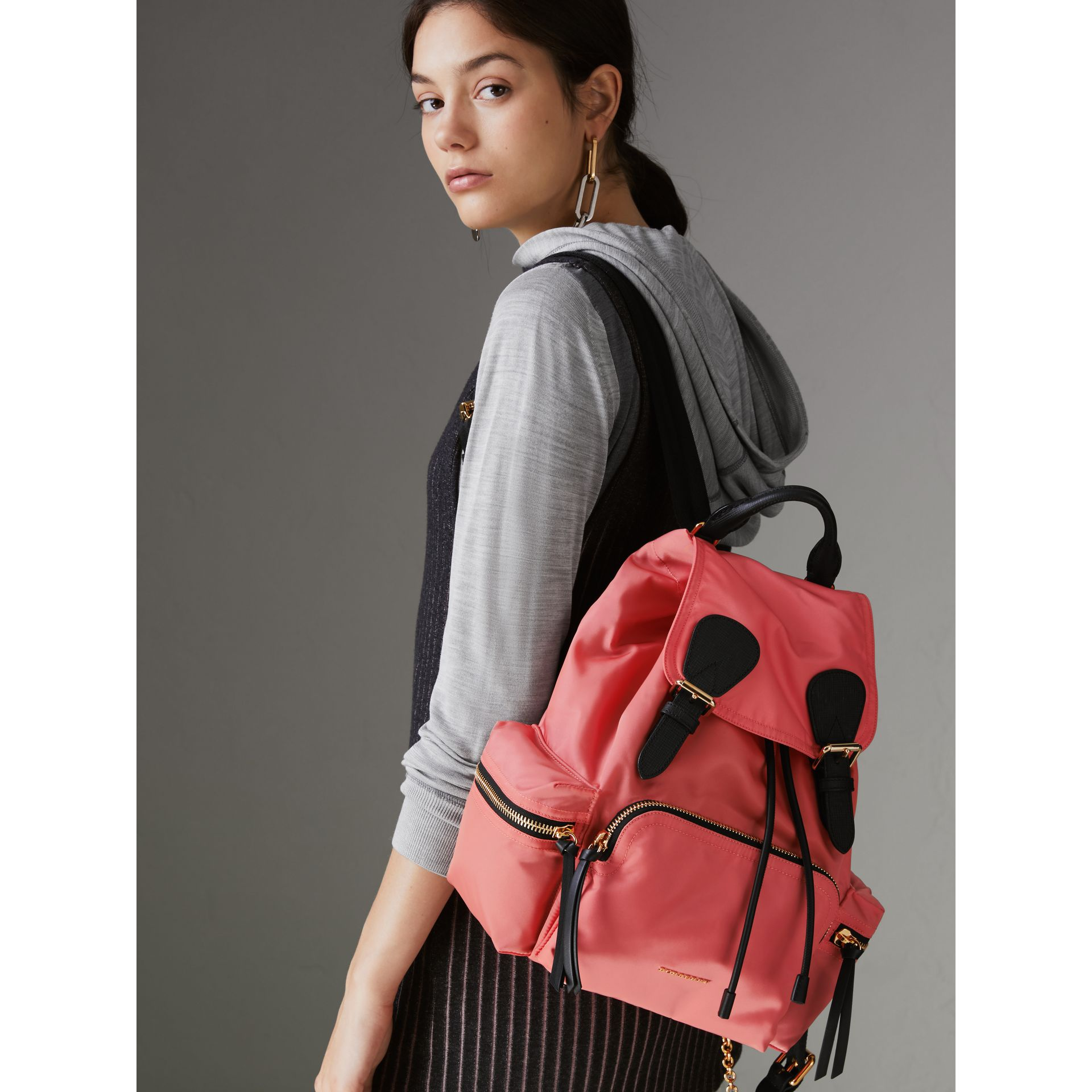The Medium Rucksack in Technical Nylon and Leather in Bright Coral Pink - Women | Burberry United Kingdom - gallery image 3