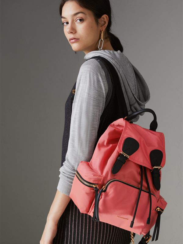 The Medium Rucksack in Technical Nylon and Leather in Bright Coral Pink - Women | Burberry - cell image 3