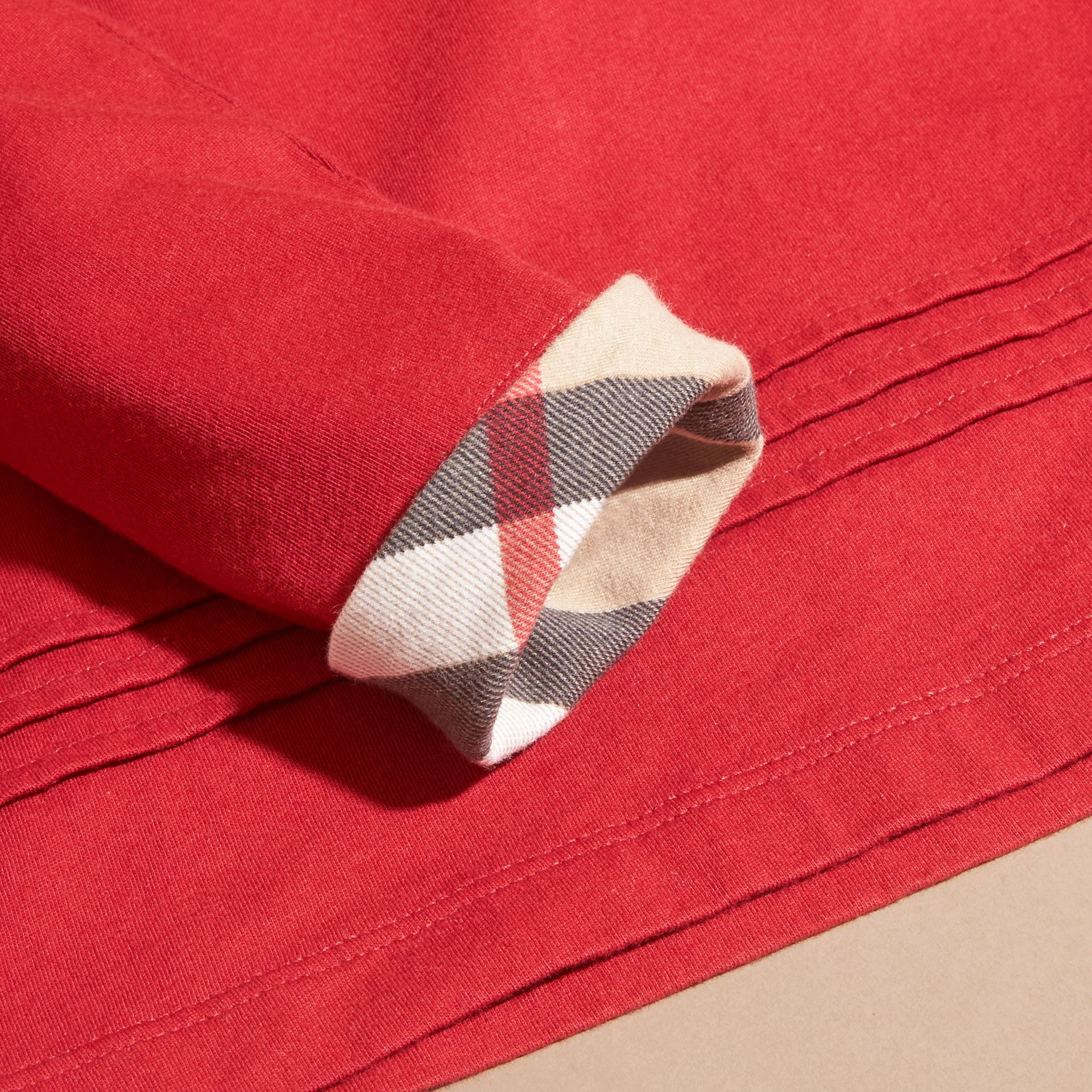 Long-sleeved Pleat Detail Check Cotton T-Shirt in Parade Red - Girl | Burberry - gallery image 2