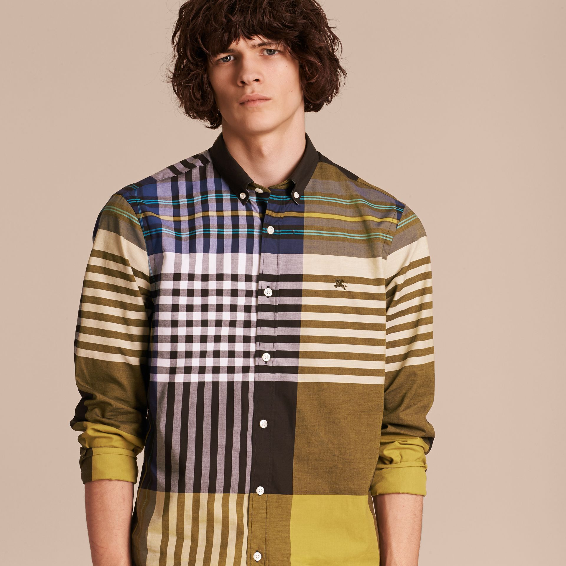 Graphic Tartan Cotton Shirt in Larch Yellow - gallery image 6