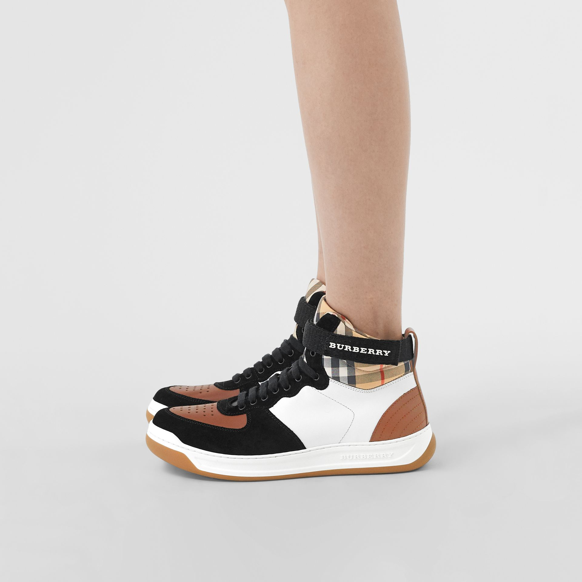 Leather and Suede High-top Sneakers in Camel - Women | Burberry - gallery image 2