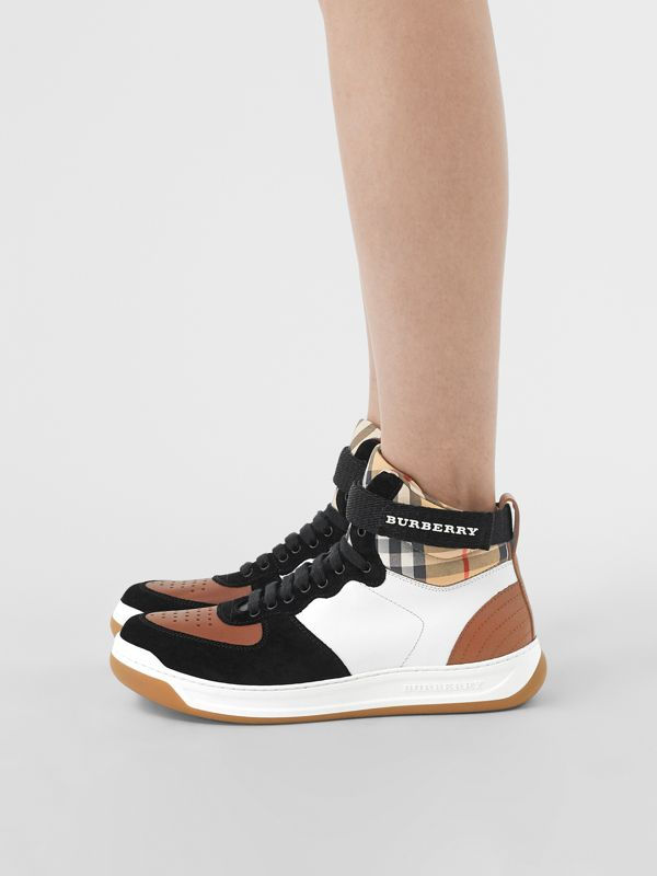 Leather and Suede High-top Sneakers in Camel - Women | Burberry - cell image 2
